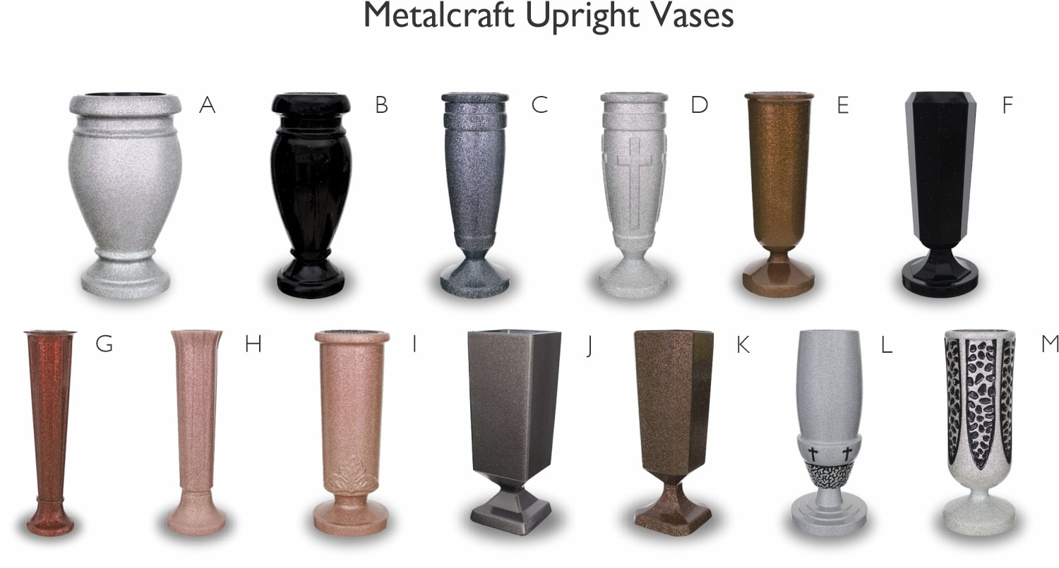 Metalcraft vases memorial accessory